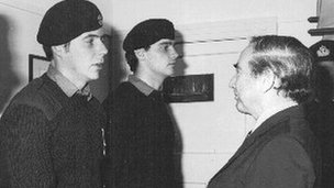 Brian Jones and another soldier meet Rex Hunt and receive medal 1983