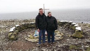 Brian and Melanie at HMS Sheffield Memorial in Falkland
