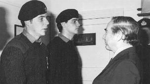 Brian Jones and another soldier meet Rex Hunt