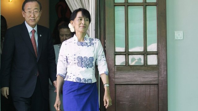 UN Secretary General Ban Ki-moon and Aung San Suu Kyi