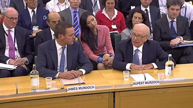 James and Rupert Murdoch giving evidence to the Commons Media Committee in July 2011