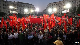 Greek communists rally in Thessaloniki. May Day comes against a backdrop of key elections