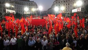 Greek communists rally in Thessaloniki, 30 April 2012