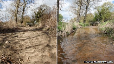 The dry river bed of the River Pang near Bucklebury, Berkshire on 20 February and a full River Pang on 30 April