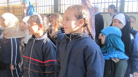 Pupils gather for an assembly in Egypt
