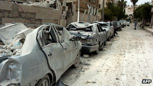 Aftermath of attack on Syrian security forces in Idlib - 30 April 2012