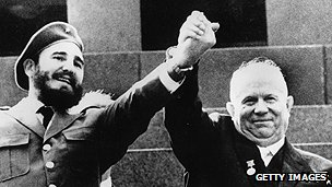 Khrushchev, right, and Castro