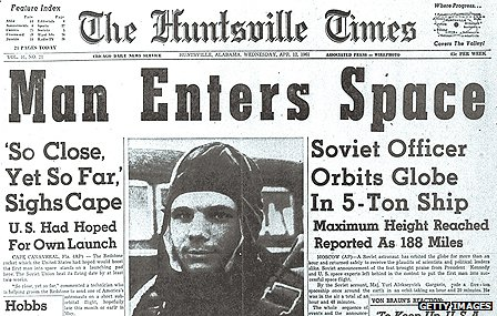 Newspaper reporting of Gagarin&#039;s space voyage