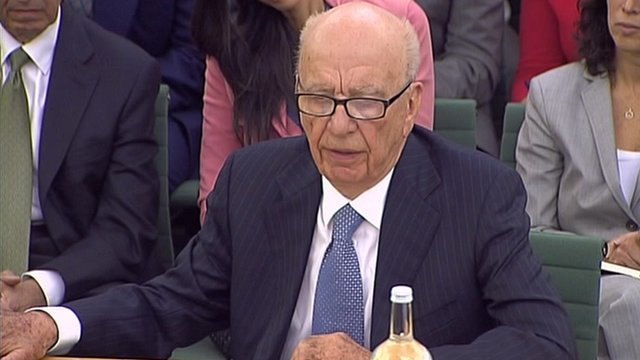 Rupert Murdoch speaking before the culture committee in July 2011