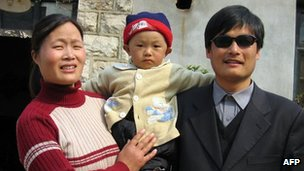 Mr Chen with his wife and child in 2005