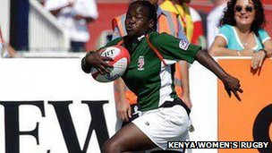 Aberdeen Shikoyi playing at the Dubai Sevens tournament  Photo: Kenya Women's Rugby