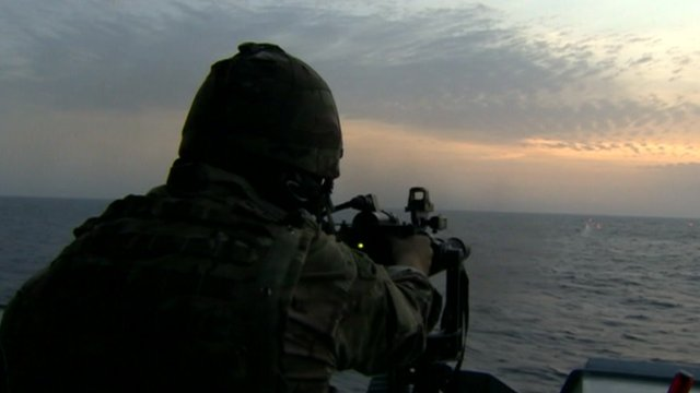 View of sea from HMS Dauntless