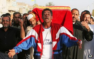Funeral for victim of suicide attack on a mosque on 8 April 2006 in Baghdad, Iraq