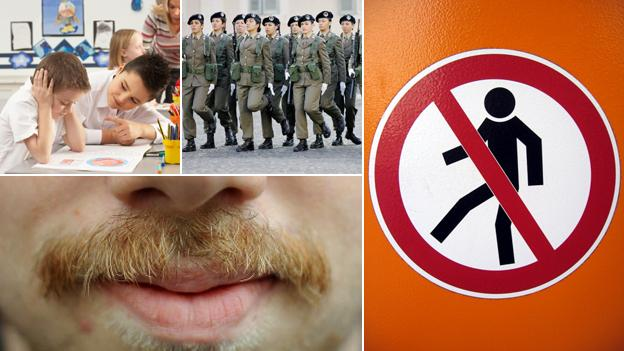Top left, clockwise: Boys at school, girls in the army, 'no men' sign, close-up of a moustache