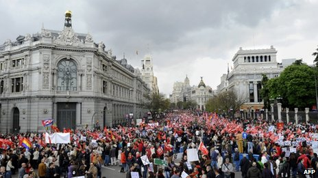 May Day protesters file through Madrid