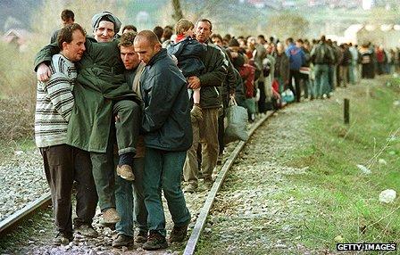 Kosovo Albanians flee