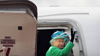 HM Queen on plane