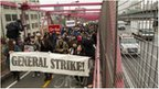 Protesters march across Williamsburg Bridge on an Occupy Wall Street May Day event in New York City 1 may 2012