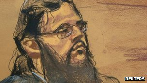Courtroom sketch of Adis Medunjanin in New York 16 April 2012