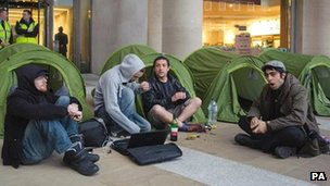 May Day demonstrators set up tents in Paternoster Square