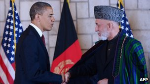 Barack Obama and Hamid Karzai on 1 May 2012