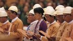 Aung San Suu Kyi and fellow lawmakers take their oath on 2 May 2012