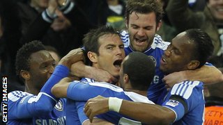 Chelsea celebrate a goal by Frank Lampard (centre) in the FA Cup semi-final against Tottenham