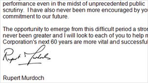 Screenshot of letter by Rupert Murdoch