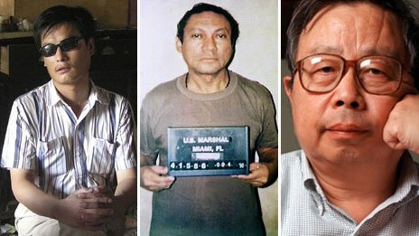 Chen Guangcheng (l), Manuel Noriega (m) and Fang Lizhi (r). AP 