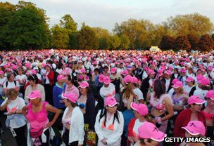 Women in bras gather for Moonwalk breast cancer fundraising walk