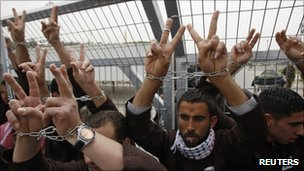 Palestinian protesters with their hands chained outside an Israeli prison. File photo