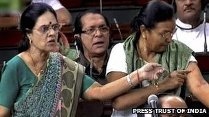 Congress MPs Girija Vyas and Prabha Taviad (right) in parliament on 2 May 2012