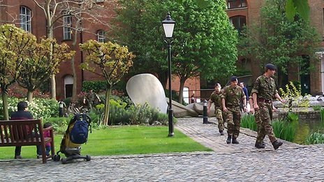 Soldiers in the Bow Quarter garden
