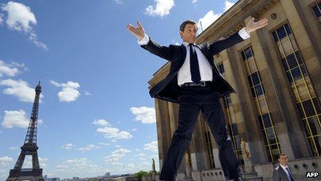 Nicolas Sarkozy addressed a huge rally at the Trocadero, Paris, on Tuesday