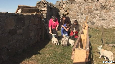 Anna MacDonald and helpers feeding lambs