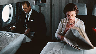Queen and Duke of Edinburgh on plane Bettmann/CORBIS