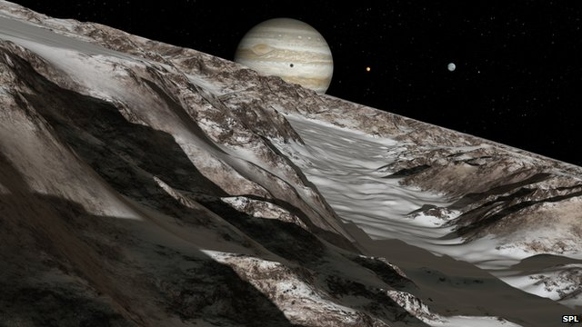 Artist&#039;s impression of Ganymede&#039;s surface