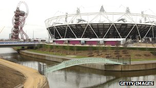 The stadium, Orbit tower and river in Olympic Park