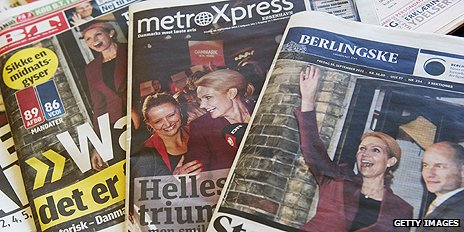 Newspaper front pages in Denmark