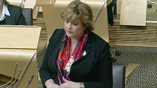 Fiona Hyslop minister for culture and external affairs addresses the Scottish Parliament