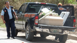 The hearse carrying Ramon&#039;s coffin