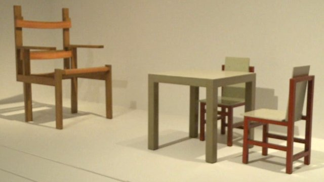 Chairs at Bauhaus exhibition at the Barbican