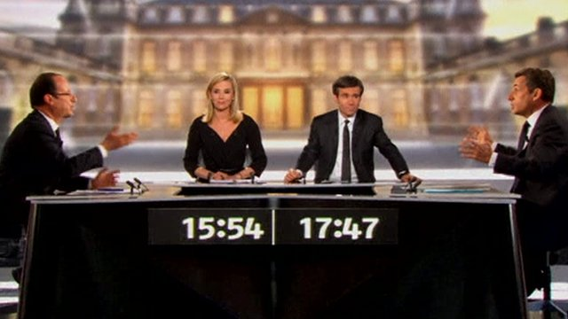 Francois Hollande and Nicolas Sarkozy in a televised presidental debate