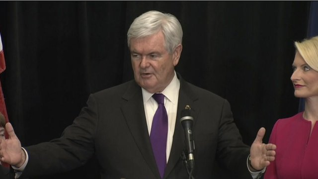 Newt Gingrich compares Mitt Romney and Barack Obama in his withdrawal speech, Arlington, Virginia 2 May 2012