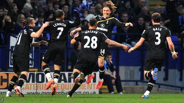 Tottenham celebrate Luka Modric's opener against Bolton