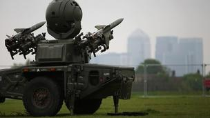 An Army Rapier missile defence battery is deployed at Blackheath in sight of the Canary Wharf in London