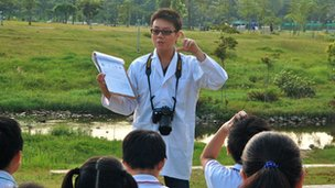 Science teacher Lin Lixun in Bishan Park, Singapore on 26 April, 2012