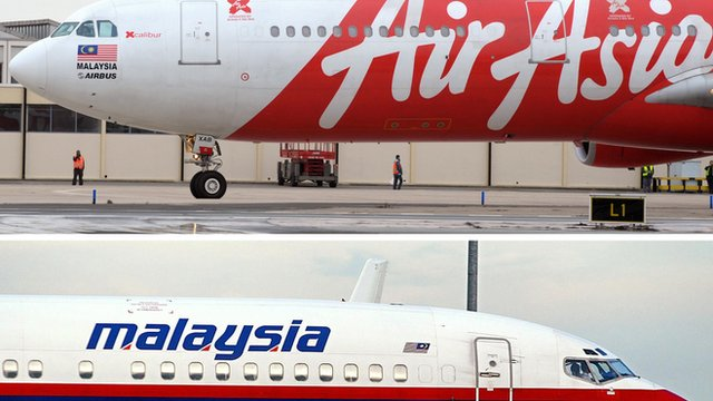 malaysia airlines plane and AirAsia plane