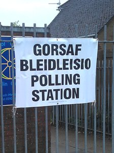 A polling station in Whitchurch, Cardiff