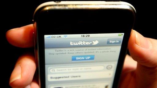 Twitter website on mobile phone